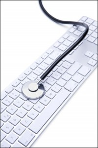 Computer keyboard with stethescope on top