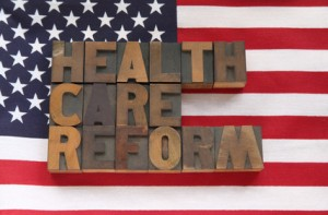American Flag with Health Care Reform Written over it